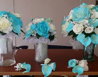 Complete Wedding Bouquet Sets - Corsages, BOUTONNIERES, Boutiques - 10 pcs.