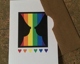 185 Gay celebration card. LGBT  card. Lesbian card.