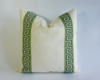 Decorative Pillow Cover Cotton Off White Cotton Canvas with Kelly Green Greek Key Ribbon Border - 16x16 To 26x26 -4 Different Color Choices