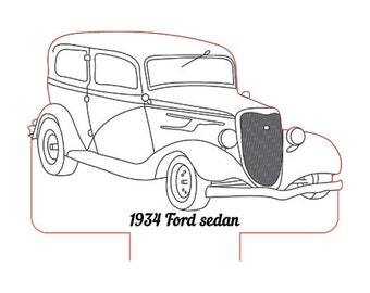 1934 ford sedan 3d illusion lamp plan vector file