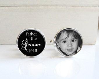 Father Of The Groom Cufflinks, Personalized Photo Cufflinks, Wedding Cufflinks