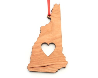 Heart New Hampshire Christmas Ornament - NH State Shape Ornament with Christmas Heart Cutout - New Hampshire Ornament by Heart State Shop