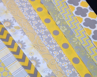 Jelly Roll yellow gray white fabric, 20  Precisely die cut to 2.5 wide fabric strips, chevron, polka dot, flowers, Time Saver, top quality,