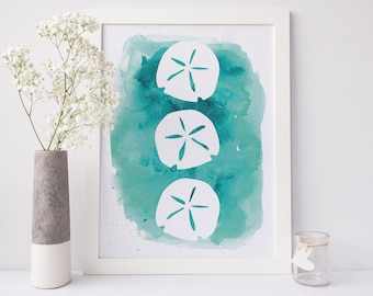 Sand Dollar Print, Printables Decor, Ocean Life Art, Beach Home Print, Beach Art Poster Sea Life Art Print, Blue Art Print, Downloadable Art