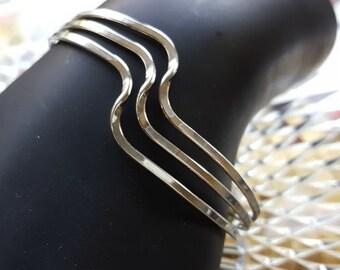 Sterling Silver Vintage Cuff Bracelet Swirly Design 925