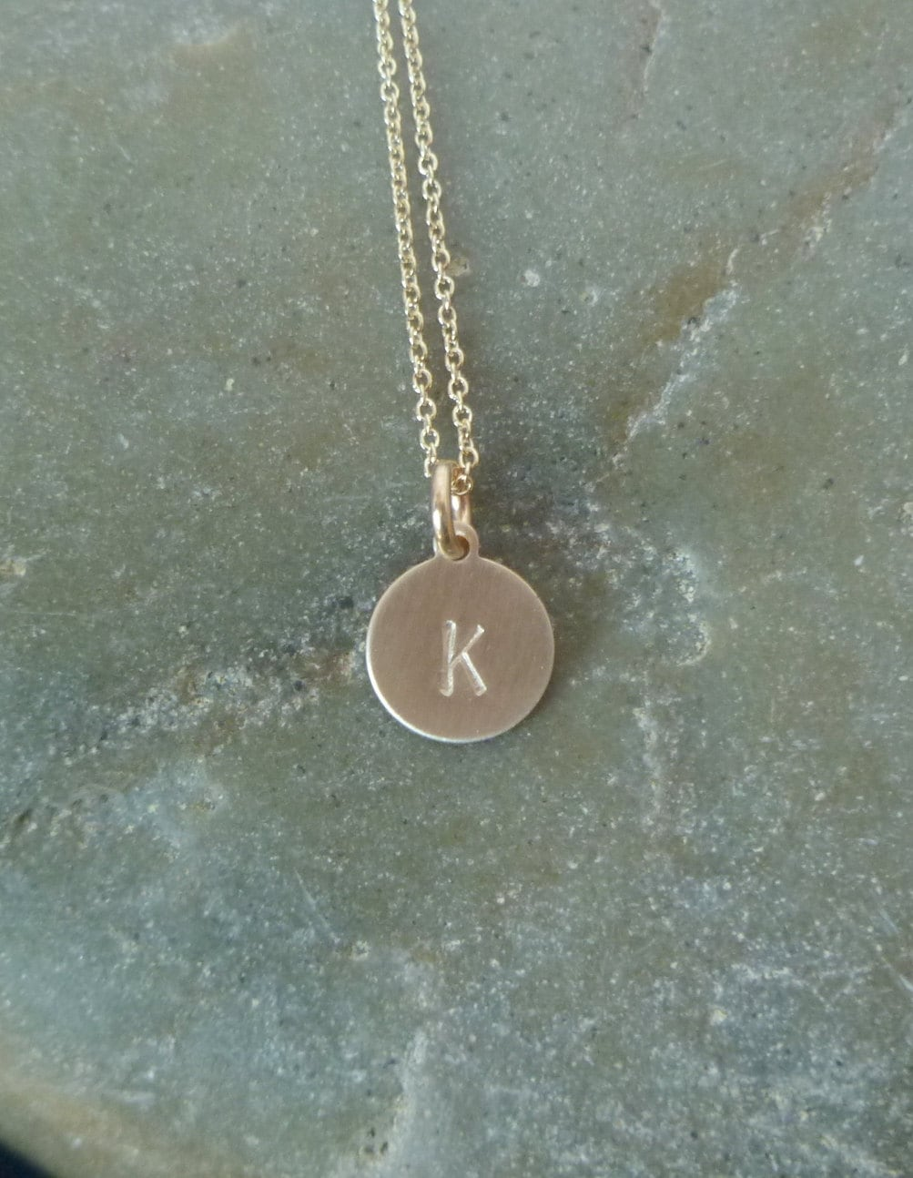 Gold disc initial necklace small 9mm 14k gold filled disc zoom aloadofball Image collections
