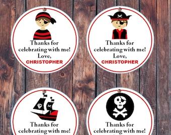 Personalized Birthday stickers - Birthday favor sticker - Friends Pirates sticker  - Pirates birthday tags - Pirates birthday theme .