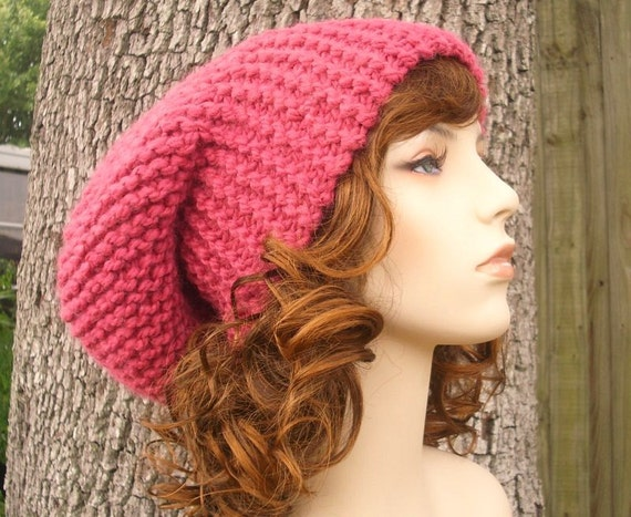 Knit Hat Pink Womens Hat Slouchy Beanie - Slouchy Hat in Raspberry Pink Knit Hat - Pink Hat Pink Beanie Womens Accessories Winter Hat