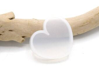 x1 Moule Souple en Silicone Blanc  Cœur 35mm x 31mm
