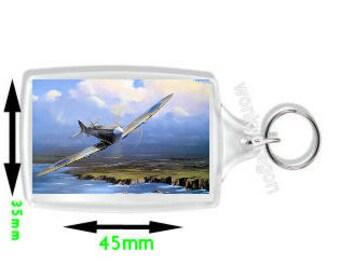 keyring double sided - spitfire ww2 british fighter plane. - novelty funny new keychain key ring by wonkydragon