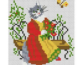Cross Stitch Pattern Cat counted embroidery