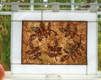 Leaf Play ~ Bleached Art Stained Glass Look Pojagi Batik Window Treatment / bohemian cafe curtain / dorm / boudoir / hippie curtain