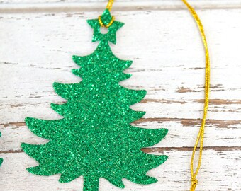 Christmas Tree Gift Tags - Set of 10 - Christmas gift tags, glitter gift tags