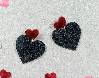 Black & Red Valentines Hearts - Laser cut acrylic earrings