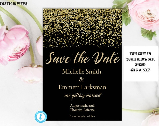 Black and Gold Save the Date Template, Save the Date Card Template, Black and Gold Wedding Template, Instant Download, Gold Glitter, DIY