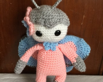 Amigurumi butterfly doll, baby shower gift, butterfly toddler toy, baby gift, crochet butterfly, handmade doll, amigurumi butterfly