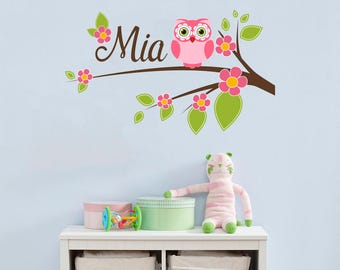 Branch Wall Decal With Name Decal Girls Name Decal Owl Full Color Nursery Murals ba1