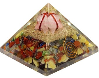 Multistone Orgone Pyramid With Merkaba, Healing Crystals, Balancing Chakras, Gemstone Energy Generator With Gift Pouch HCDR1151A