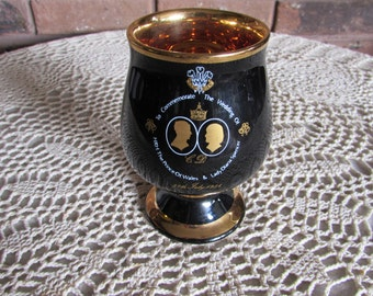 Prince Charles and Lady Diana Royal Wedding Commemorative Black and Gold Goblet.