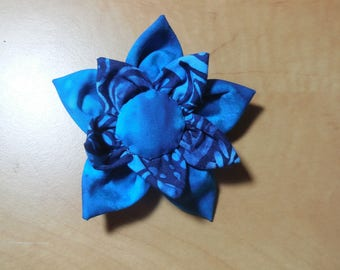 Hand sewn flower brooch /badge in shades of blue