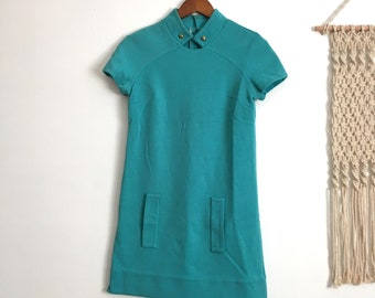 Vintage teal mod mini shift dress, size extra small xs / small s