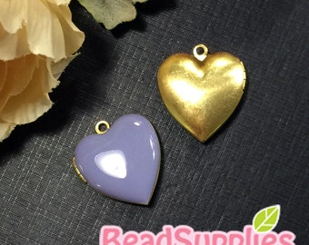 CH-EX-08055LC - Nickel Free, Heart-shaped locket, lilac, 2pcs
