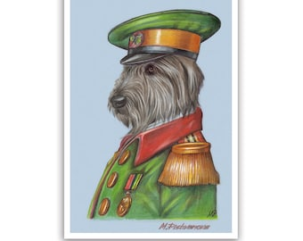 Irish Wolfhound Art Print - the Captain - Irish Dog Portraits, Art - Dogs in Clothes - Pet Kingdom by Maria Pishvanova