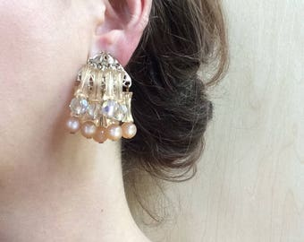 Chandelier Earrings / Vintage Gold Tone Dangle Clip-On Statement Costume Jewelry