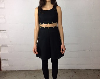Black and gold chain two piece 60s go go mini dress