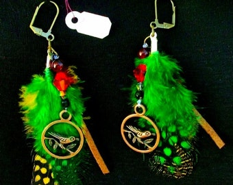 HOT ITEM Sale!  Feather Bird Earrings -Antiqued copper bird charms,GreenYellow feathers,Swarovski, Leather,Jasper & Agate Beads,RedRobinArt
