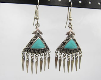 Sterling Silver and Turquoise Dangle Earrings with Dagger Fringe   2341I