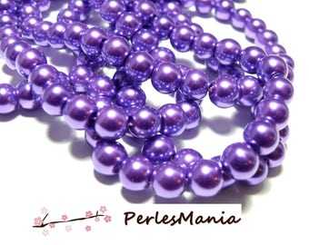 1 strand of approximately 105 beads effect glass Pearl 8mm purple Indigo HA36, DIY