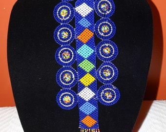 Blue/ Multicolor African handmade beaded necklace