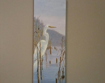 "Egret Watching-- 12"" Wide  x  36"" High 1 1/2 thick-- Original Oil Painting on Canvas Hand Signed No Frame Needed Just Hang"
