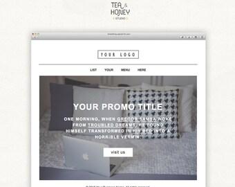 Promotional Email Newsletter, Modern Handcoded Mailchimp HTML e-newsletter, simple personalised customisable promo mailer, digital download