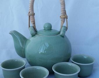 Jade Green Celadon Porcelain 4 Cup Tea Set