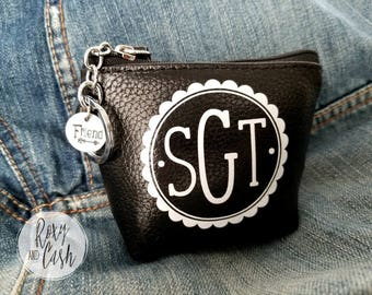 Monogram Keychain Coin Purse Leather, Monogram Bridesmaid Gift, Personalized Keychain Credit Card Wallet, Zipper Black Leather ID Wallet