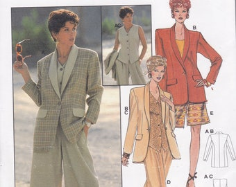 FREE US SHIP Burda Couture 4020 Retro 1990s 90's Short Suit Jacket  Size 10 12 14 16 18 20  Uncut Bust 32 34 36 38 40 42  Sewing Pattern