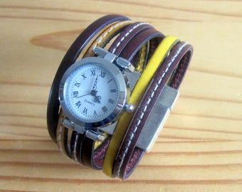 Watch cuff leather yellow/Burgundy, Silver Dial, 30MM magnetic silver plated clasp.