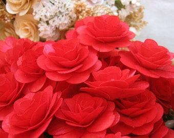 150  Pcs Red Birch Wood Roses for Weddings, Home Decorations, Scrapbooking and Floral Arrangements