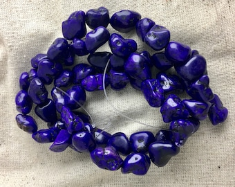 "Purple Howlite / Magnesite Nugget Beads, western, 15"" strands, 12 mm - 14 mm, 1 mm hole"