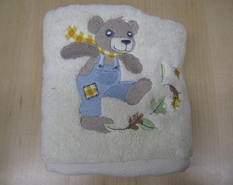Terry Cloth Hand Towel - Autumn Bear in Overalls - EXTRA STOCK