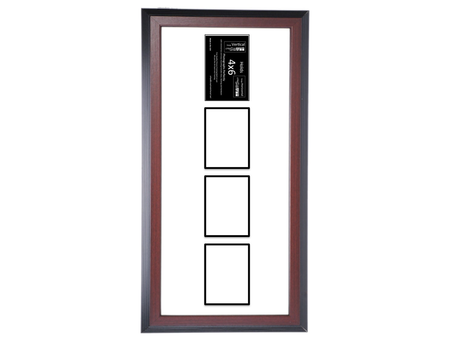 4x6 Vertical Multiple 2 3 4 5 6 7 Opening Mahogany Picture Frame ...