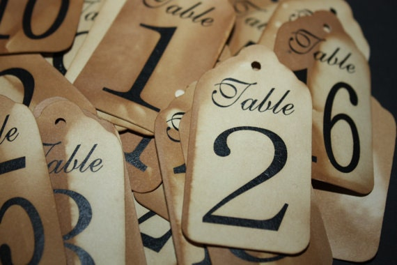 Table Number Tags 3 1/4  x 1 3/4 Large choose your quantity