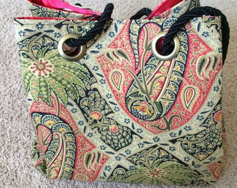 Large Tommy Bahama Paisley Print Handbag with Bright Red Satiny Interior and Black Rope Cinch Handles