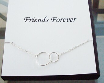 Double Circle Infinity Link Sterling Silver Bracelet ~Personalized Jewelry Gift Card for Sister, Friend, Cousin, Sister in Law, Bridal Party