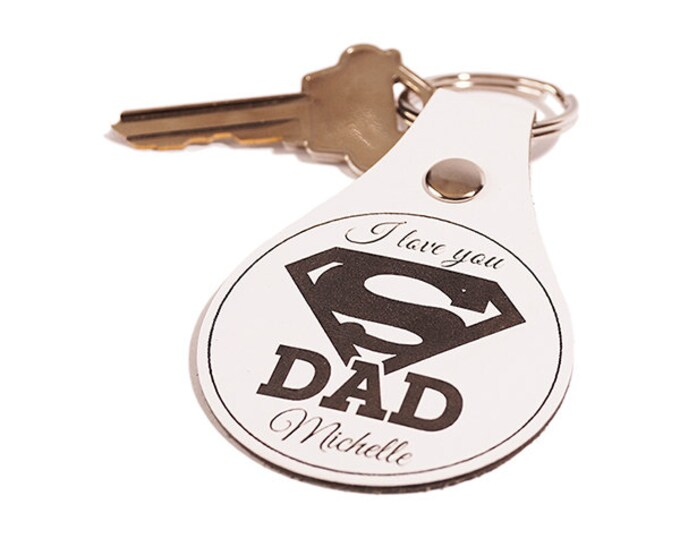 Dad Keychain, Dad Keyring, Leather Key Chain, Dad Key Fob, Leather Keyring, Leather Key Fob, Choose Dad or Pop, Unique Fathers Day Gift