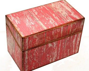 Wood Recipe Box Red Barn Wood Kitchen Storage Fits 4x6 Recipe Cards