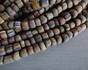 striped glass seed bead,  multicolored matte small ethnic barrel tube spacer, indonesia New Indo-pacific 3 to 6mm (22 inch strd) 7ab64-4