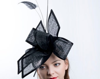 Kentucky derby headpiece, black ascot Fascinator, Silver black hat, Royal Ascot hat, Church hat, Tea party hat, Melbourne cup headpiece